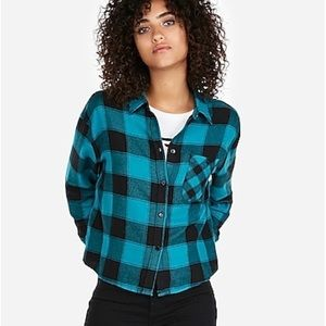 Express | Teal & Black Flannel Top